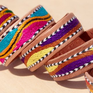Valentine's Day handmade embroidery camel leather hand rope / leather hand rope / leather bracelet / leather bracelet / embroidery bracelet - bright embroidery mountain view totem (each limited one)