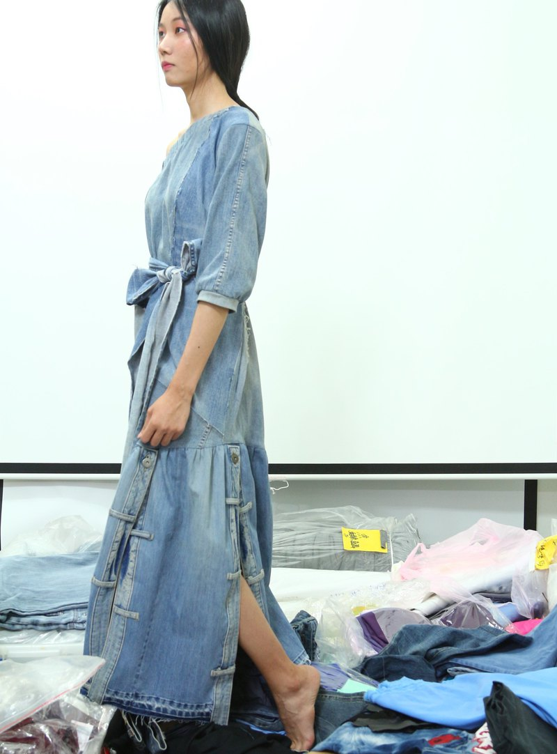 Upcycling Denim One Shoulder Dress