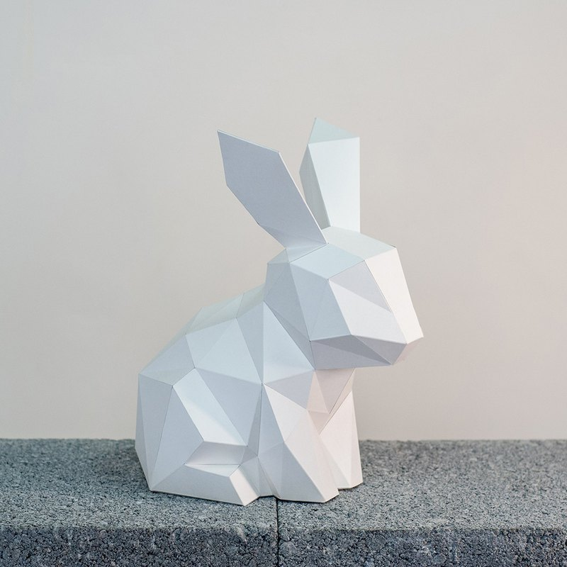 DIY hand made 3D paper model ornaments small animal series - bunny (4 colors optional)