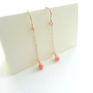 ::Daily Jewels:: Deep-sea Precious Coral Dainty 14K GF Chain Dangle Earrings