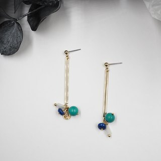 Design section. Lapis Lazuli Stone Earrings <Changeable Clip Type>