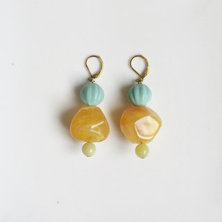 Wasabi antique resin beads natural stone earrings