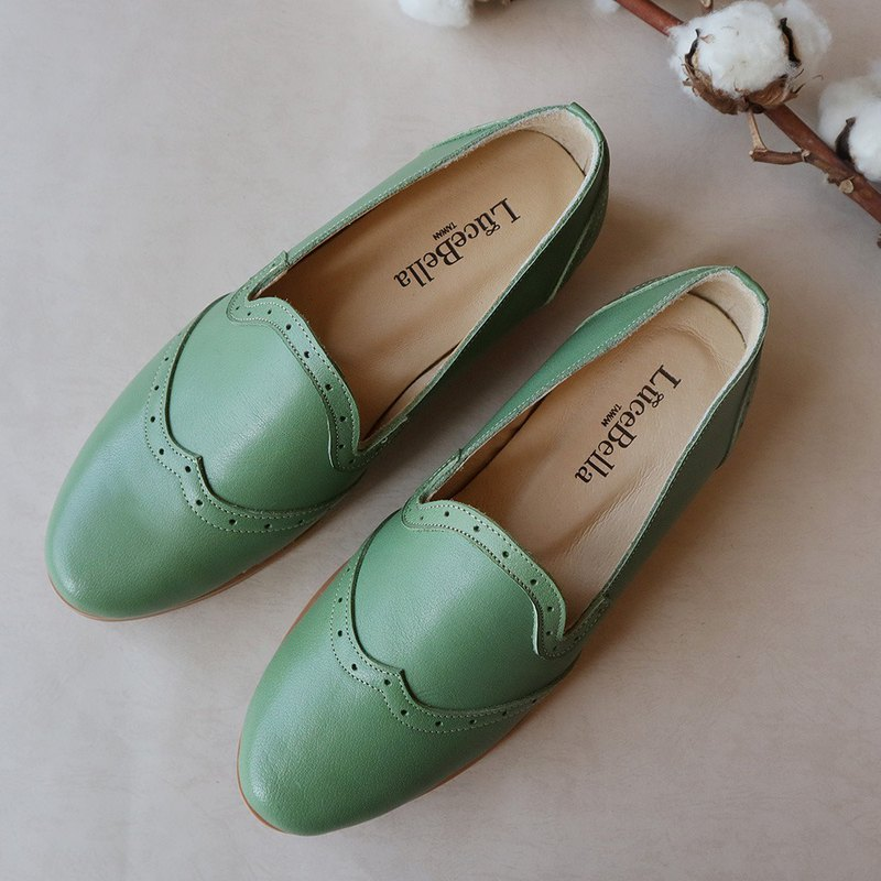 Winter rhyme / Leather Oxford shoes - green
