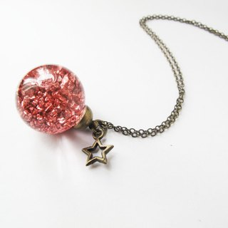 * Rosy Garden * Bronze planet rocks flowing in water inside glass ball necklace