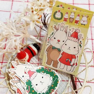 Matte texture sticker / Rabbit over Christmas sticker portfolio