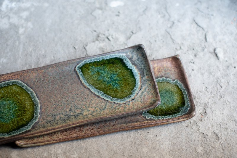 Sparkling Series - Long square dish pot front dish - Hand-picked pottery tea hand made pottery