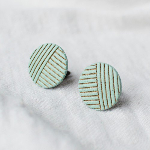 Oven clay earrings, Stripe, Green