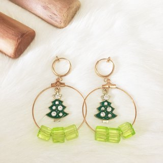 Green Christmas tree non-pierced earrings circle ear clip painless earrings handmade