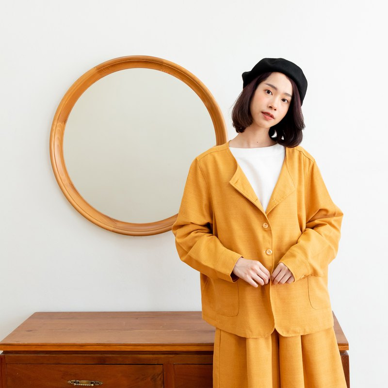Good vibes shirt -Thai cotton long sleeve shirt  (Mustard yellow)