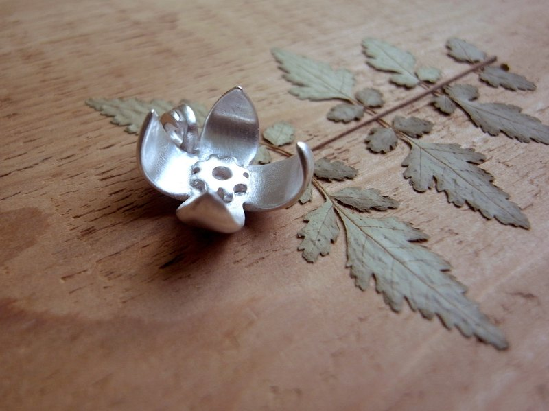 Tiny Silver Flower-Tiny Happiness--Sterling Silver Pendant Necklace