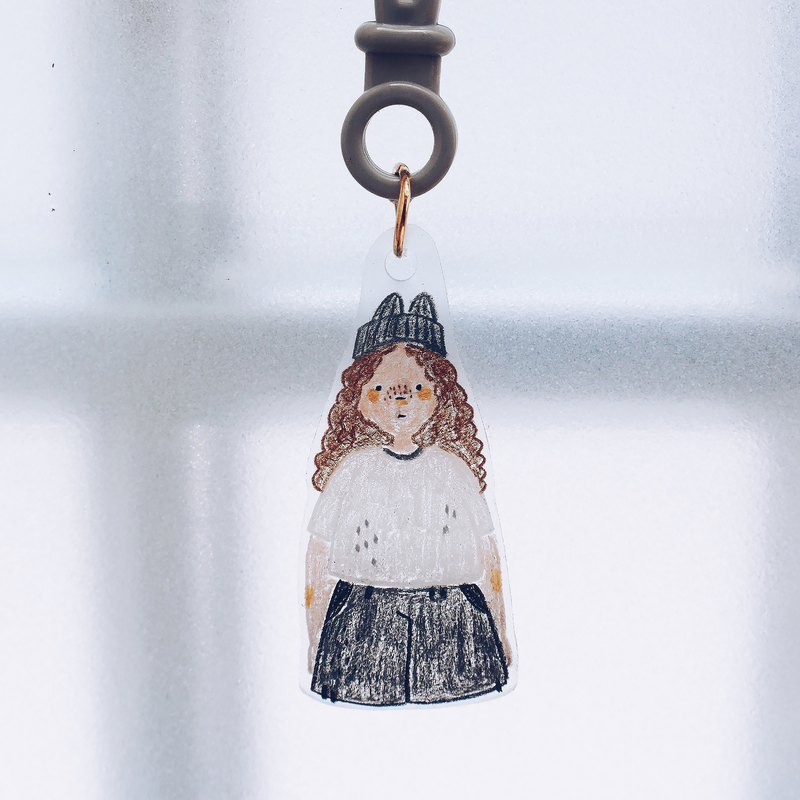 Hand-painted illustration of the charm key ring / / gray gray just
