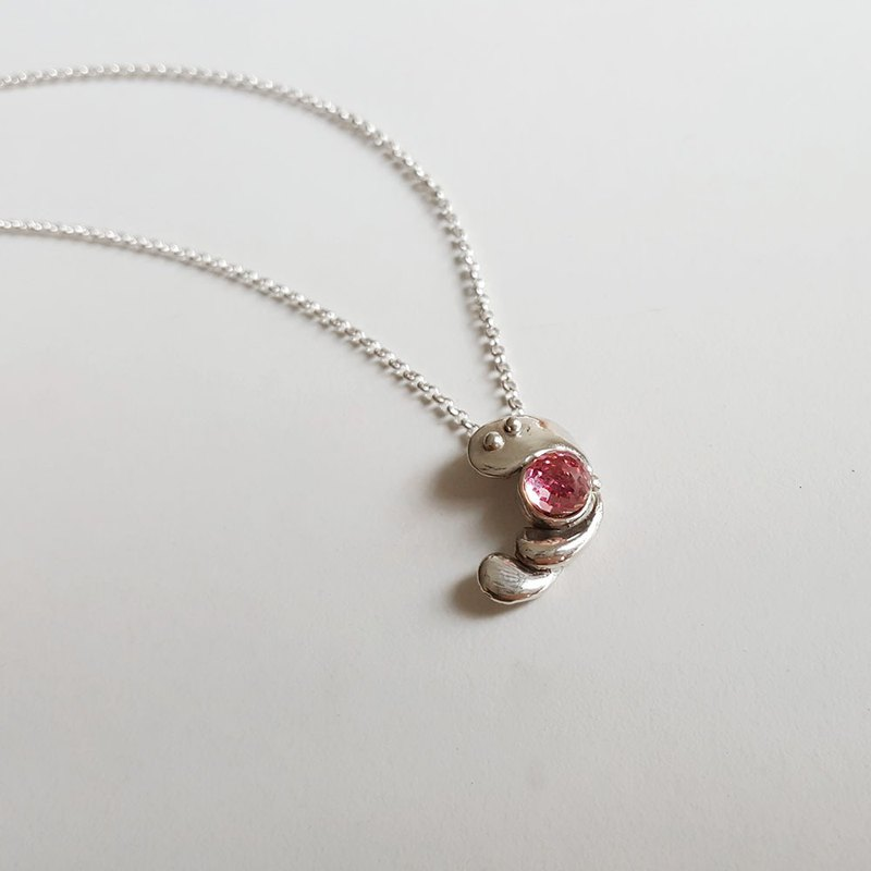 Water Drop's whisper gesture - Silver Drop Silver Necklace - Swarovski Crystal
