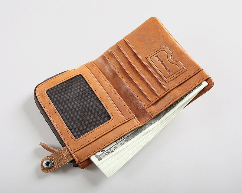 Fold Short Men Wallet Genuine Leather Handmade Wallet