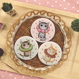 ChinChin painted cat sided small round mirror - donut combination (three in)