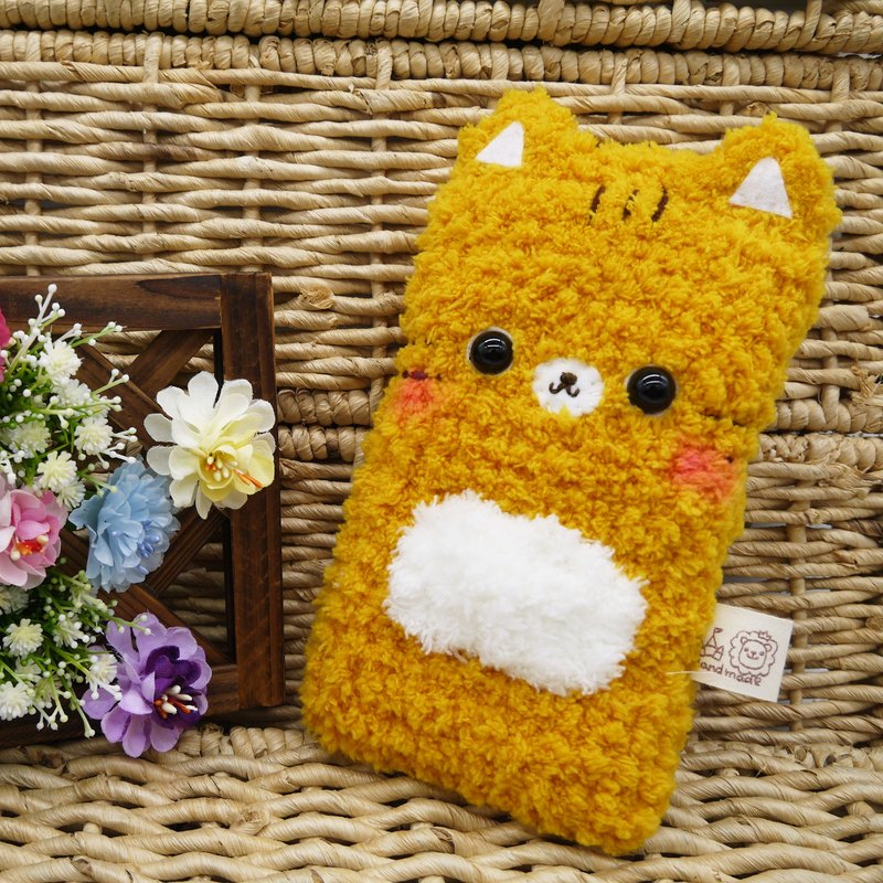 Marshmallow animal cell phone pocket - Orange Cat