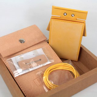 MOOS X WASOME ORIGAMI vegetable tanned leather document set leather material hand sewing material package