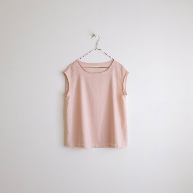 Daily hand-made suit light pink peach French sleeve short summer shirt cotton and linen