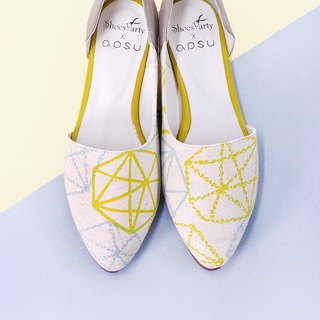 [23.0 immediately shipped] Diamond Float Star side hollow shoes / Japanese cloth / M2-16002F