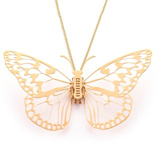 Magi-Steel Steel Jewelry Butterfly @ Taiwan - White Butterfly Necklace (Gold)