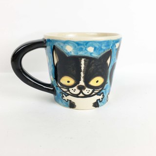 Nice Little Clay wide mouth mug happy black and white cat 01062-10