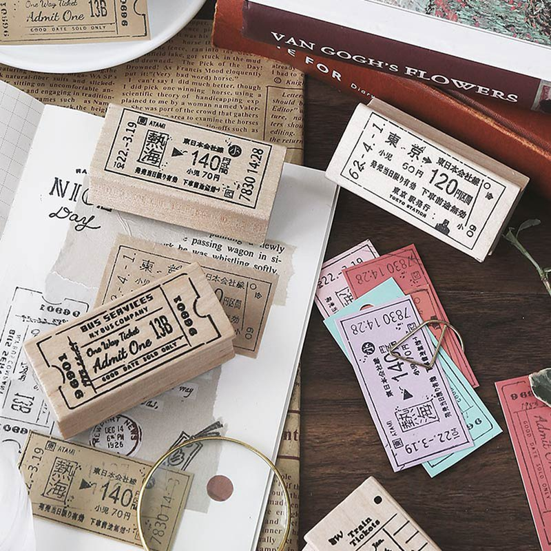 Letter of lovers wooden seal <Traveler memory> Pocket decoration retro ticket travel literature student
