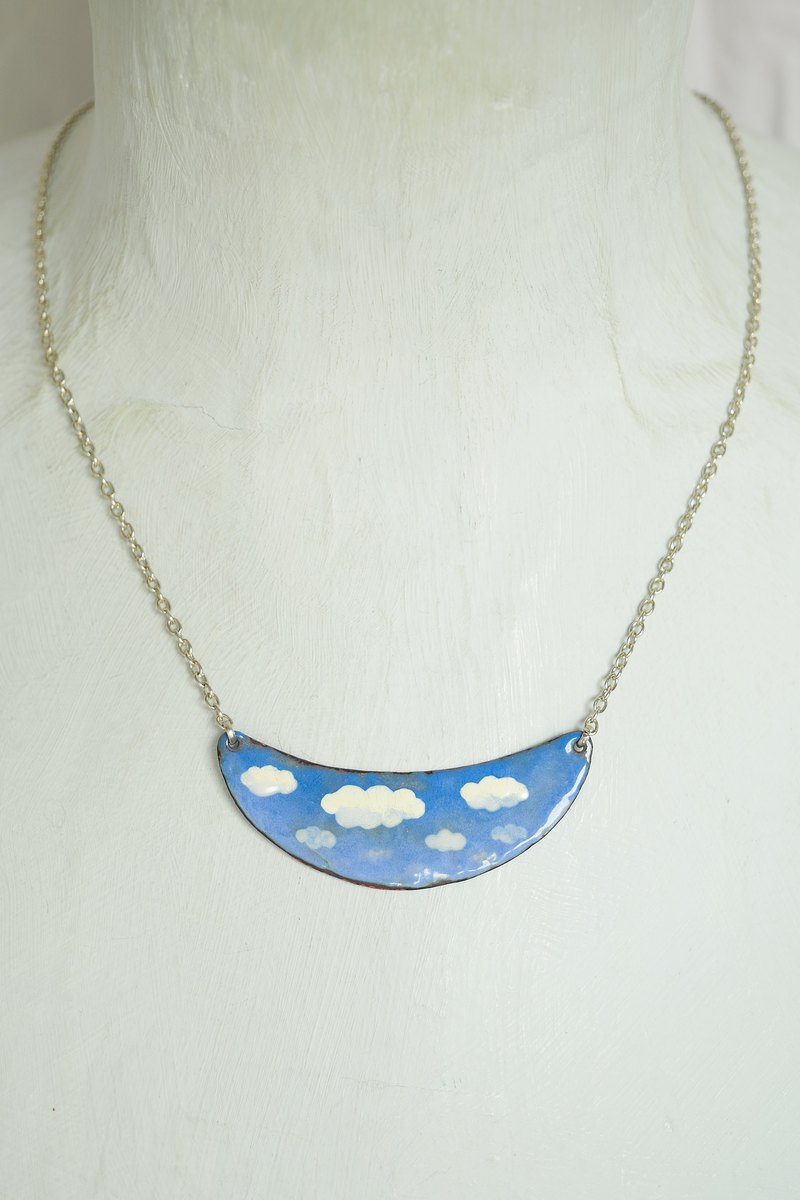Cloud In The Sky Necklace, Cloud Jewelry, Enamel Necklace, Airplane Necklace,
