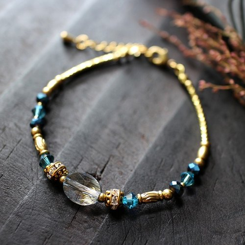 EF Crystal NO.6 Blue Phantom Corrugated Crystal Brass Bracelet