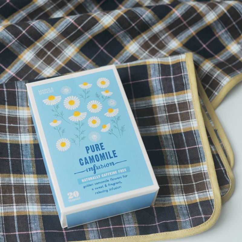Linen Placemat Blue Plaid with Mustard Binding