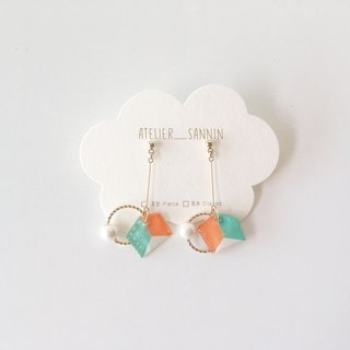 Dreamland amusement park series - square maze hand-painted draping handmade earrings ear pin / ear clip