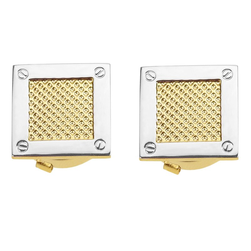 Two Tone Gold Spot Square Button Cover Cufflinks