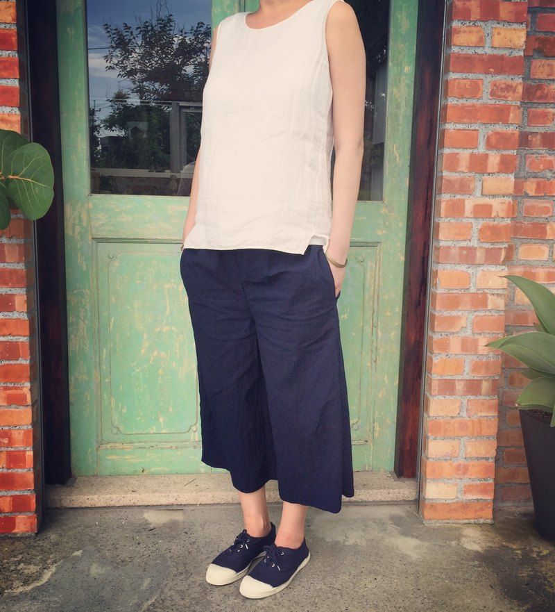 Handmade natural plant-dyed indigo blue-dyed pocket cropped wide-leg pants
