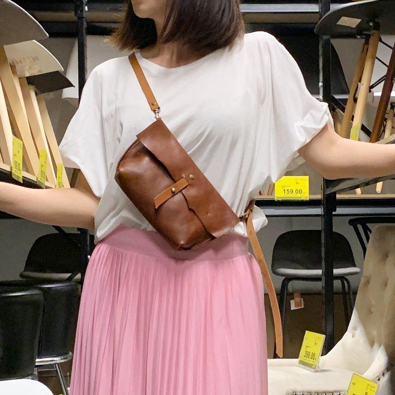 真皮手工縫製不規則翻蓋斜挎包/手提包