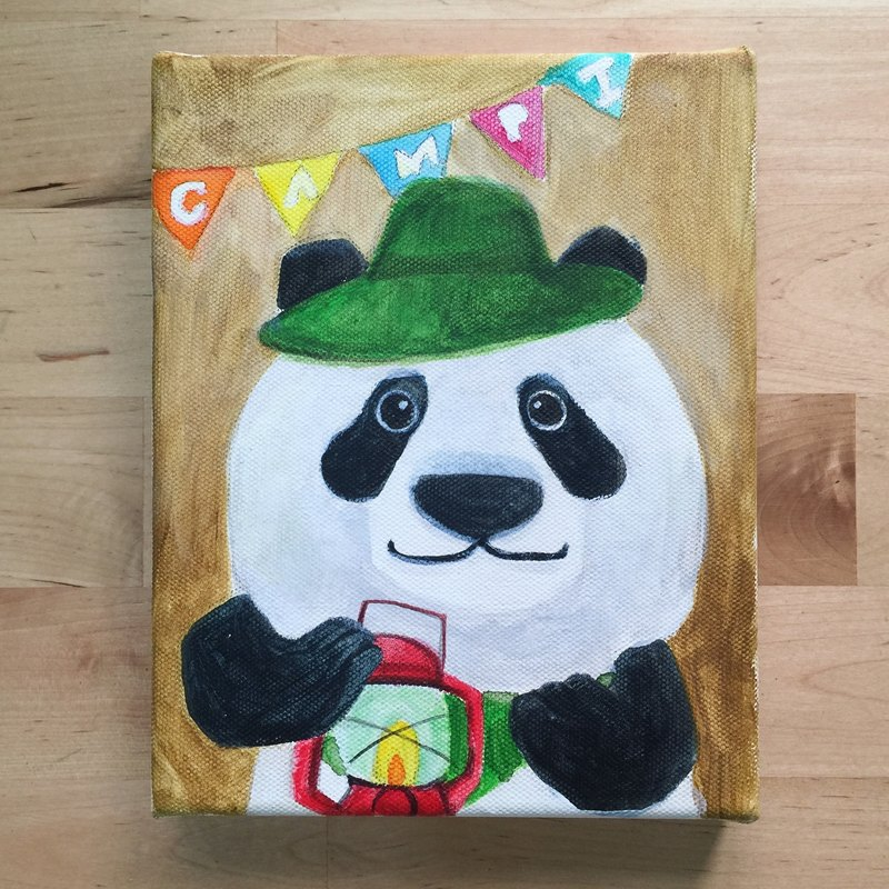 Original Picture Frame-Mr. Panda Bear Loves Camping / Animals Daily Series