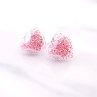 Mini Heart with Pink Crystal Glass Ball Earrings