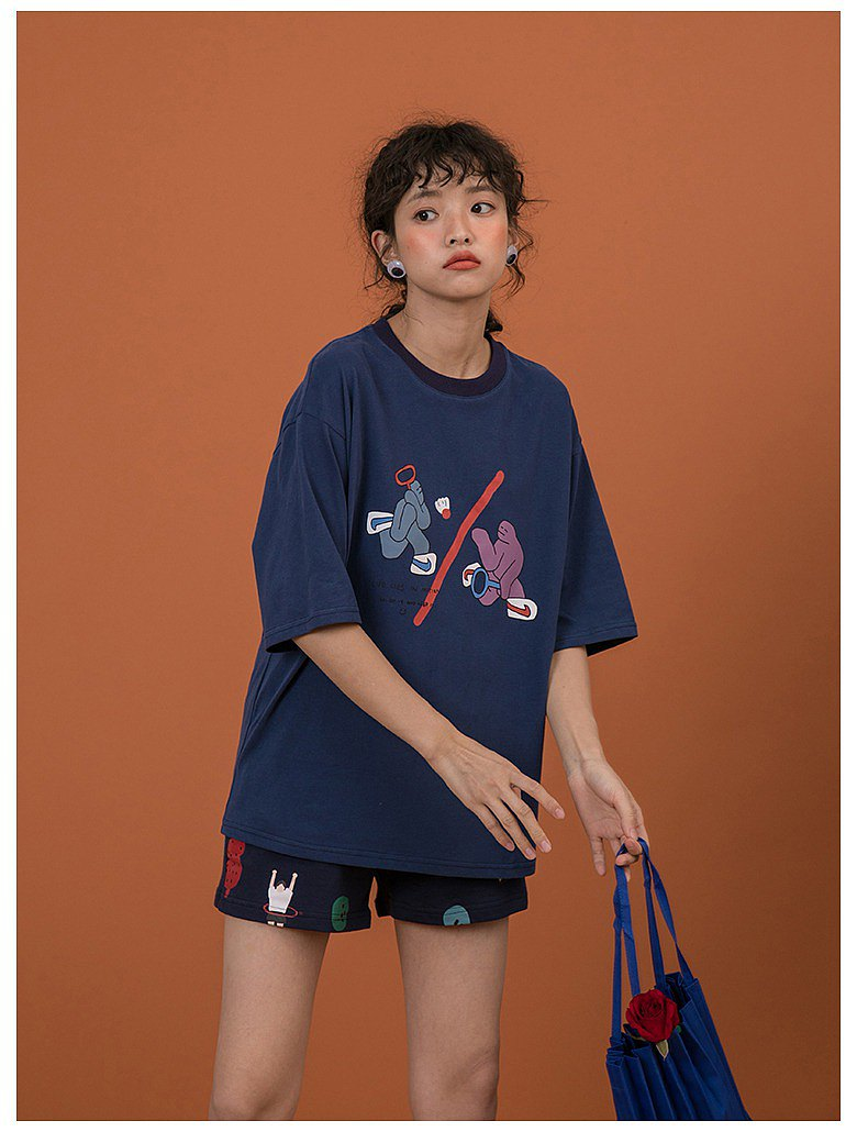 Pull off the power | badminton | cartoon childlike printed round neck fresh campus vintage loose loose t-shirt short sleeve