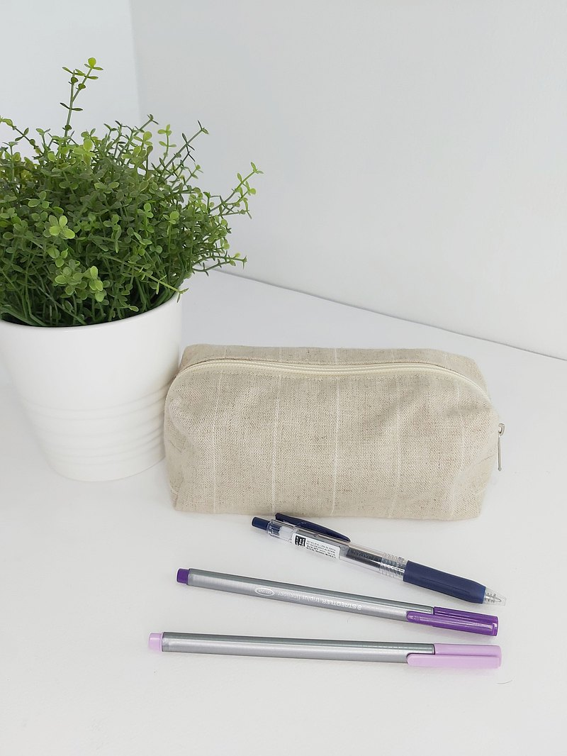 【CLEARANCE SALE】Natural Linen Pencil Case/ Gold and White Stripe