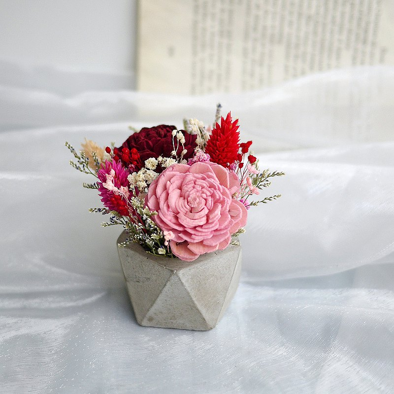 聖誕禮讚-紅粉太陽玫瑰 乾燥水泥桌花