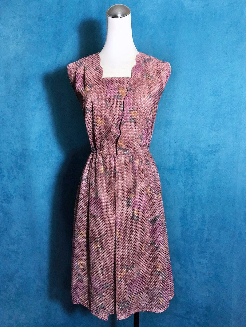 Specially textured flowers, sleeveless vintage dress / brought back to VINTAGE abroad