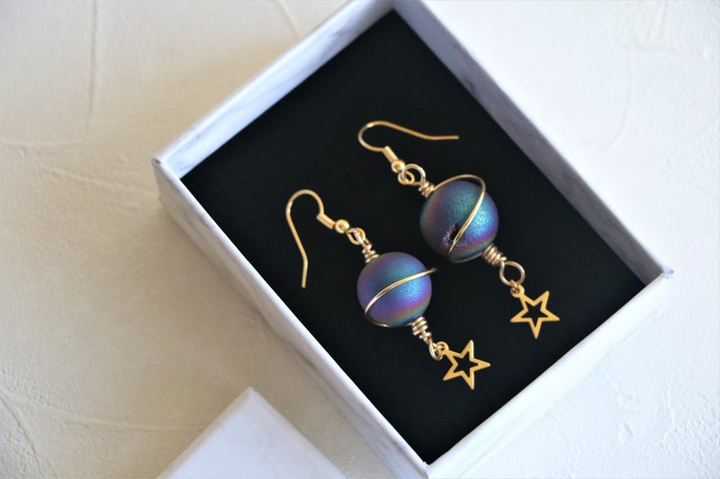 Space stone dangle earrings - 18k gold plated earrings - star earrings