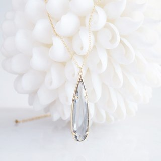 【14KGF】 Necklace, Long Teardrop Glass-Gray-