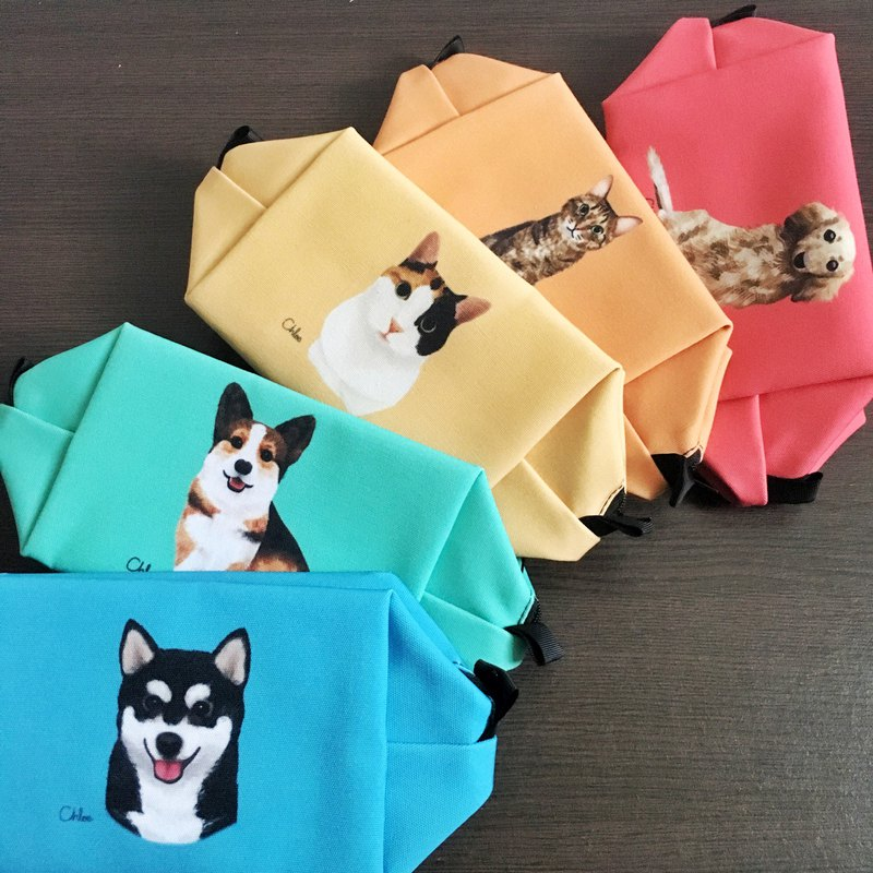 Dog cat cat big head cosmetic bag / storage bag 2 into blessing bag