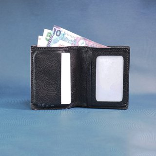 Small Short Wallet - Black Leather with Blue inner