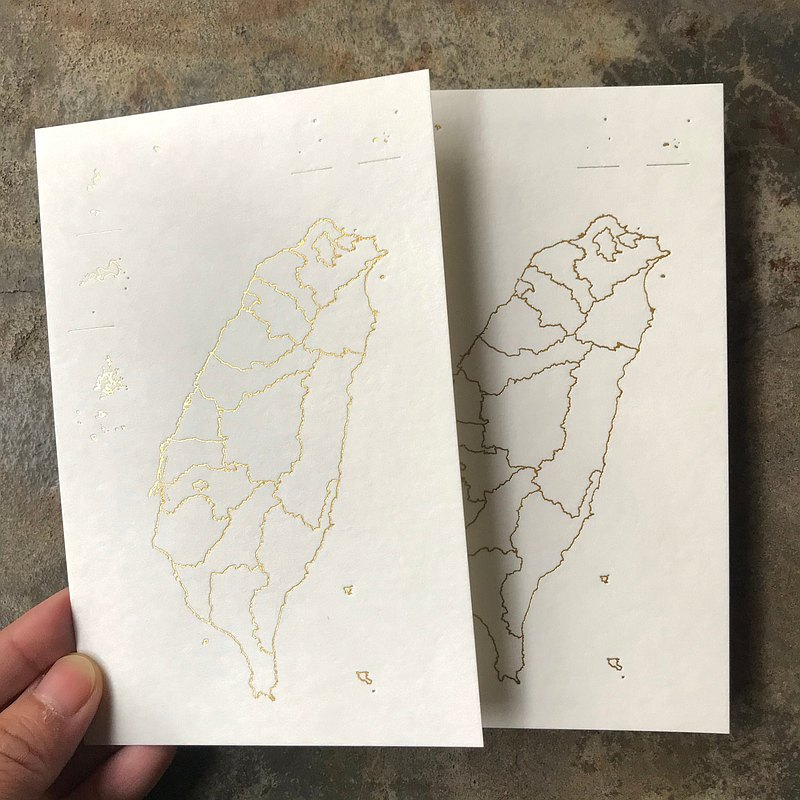 Postcards-Map of Taiwan-Hot Gold