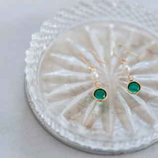 First Crystal Pearl Earrings - Green