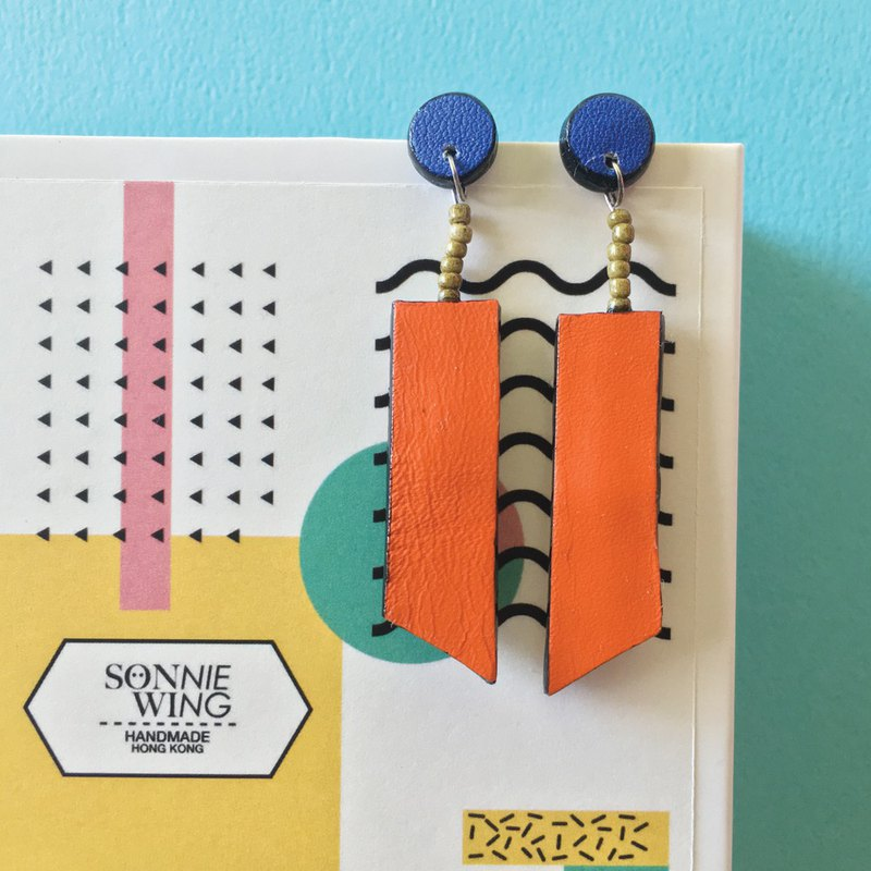 Sonniewing's Long Shape Stud Leather Earrings