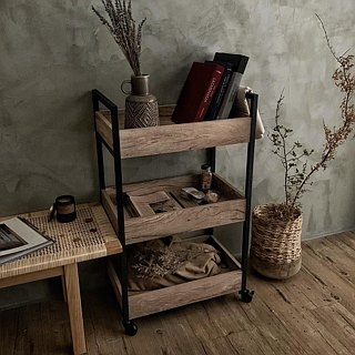 Three-layer wooden trolley / space storage helper / mobile storage / wooden industrial wind