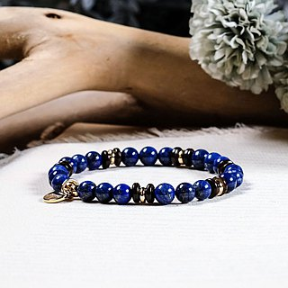 String Series Brass Lapis Lazu Cotta Bracelet Natural Ore Crystal