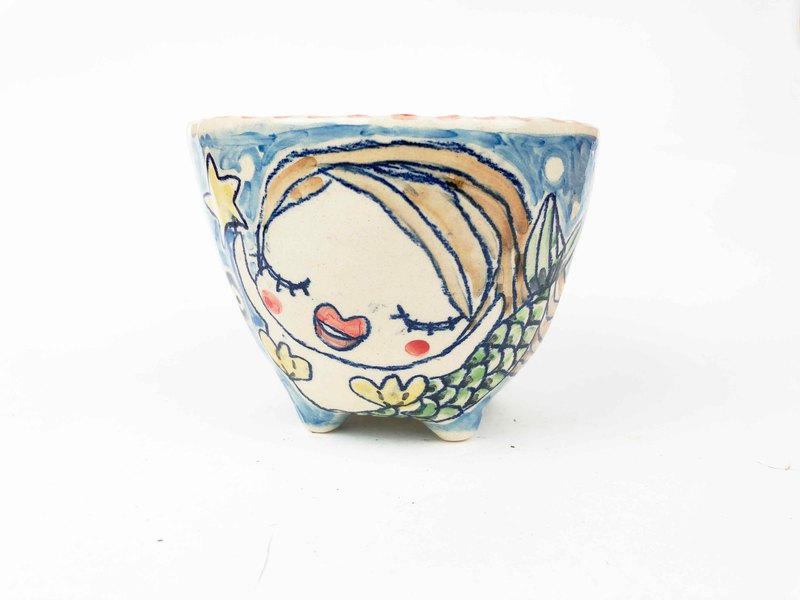 Nice Little Clay Handmade Bowl of Mermaid 02032-05