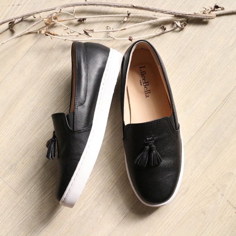 [Pure] color tassel thick-soled casual shoes - black - left 22.5