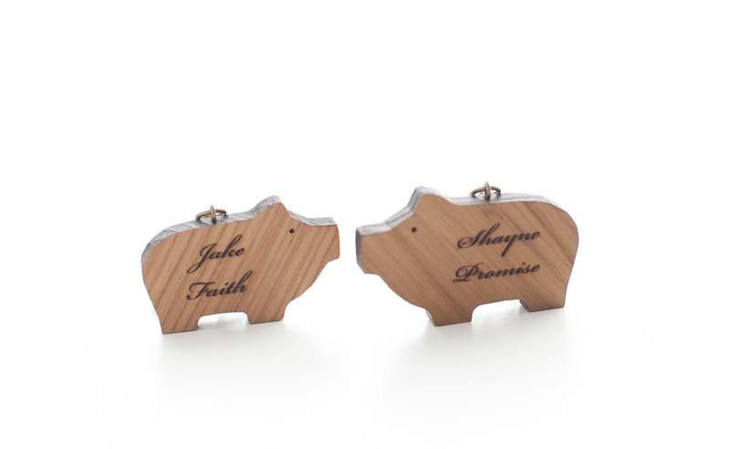 Customized Name Gifts Wood Dark Shaped Wood Chips - Fat Pig